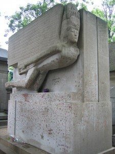 Oscar Wilde's monument in Père Lachaise cemetery in Paris