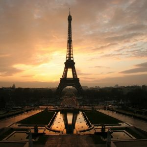 Eiffel Tower in a sunset