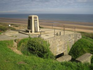 Omaha_Beach_Memorial_on_German_bunker