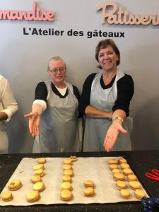 macarons. macaron workshop, two ladies, cooking macarons